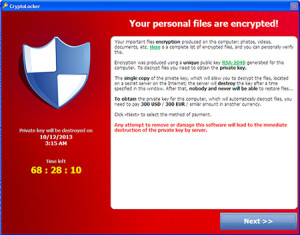 Screenshot of a computer infected with Cryptolocker ransomware. Undated | Photo courtesy of Trend Micro Inc., St. George News