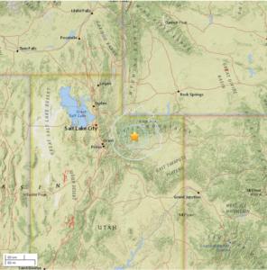 Location of Wednesday's earthquake |Image courtesy of University of Utah Seismic Station, St. George News