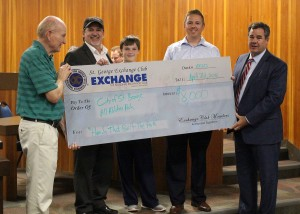 L-R Kent Perkins, Director of City of St. George Leisure Services, James McFadden, President St. George Exchange Club, Connor McFadden, Dustin Schofield, President-elect, St. George Exchange Club, Mayor Jon Pike, City of St. George