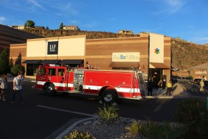 Fire trucks converged on the FedEx Office facility Wednesday evening on report of smoke coming from the building, St. George, Utah, May 11, 2016 | Photo by Ric Wayman, St. George News