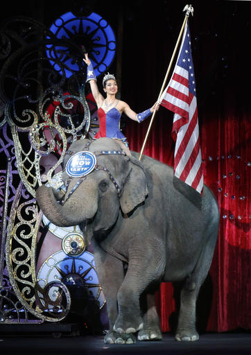 An Asian elephant performs during the national anthem for the final elephant performance during the Ringling Bros. and Barnum & Bailey Circus Sunday in Providence, Rhode Island, May 1, 2016 | AP Photo by Bill Sikes; St. George News