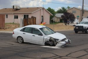 A Ford Focus involved in a two-car wreck on 2450 East Monday afternoon, St. George, Utah, May 30, 2016 | Photo by Ric Wayman, St. George News