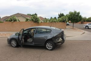 A Honda Insight that was hit by a Ford Focus on 2450 East Monday afternoon. St. George, Utah, May 30, 2016 | Photo by Ric Wayman, St. George News