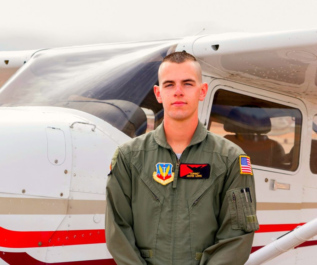 Junior ROTC cadet Justin Lewis in front of Cessna airplane during pilot training, St. George, Utah, no date, | Photo courtesy of Justin Lewis, St. George News