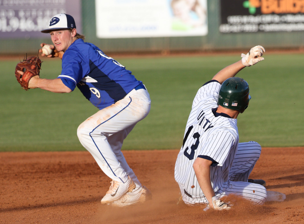 Dixie's Hobbs Nyberg (9), and Snow Canyon's Brock Staheli (13),  Snow Canyon vs. Dixie, Baseball, St. George, Utah, May 5, 2016, | Photo by Kevin Luthy, St. George News