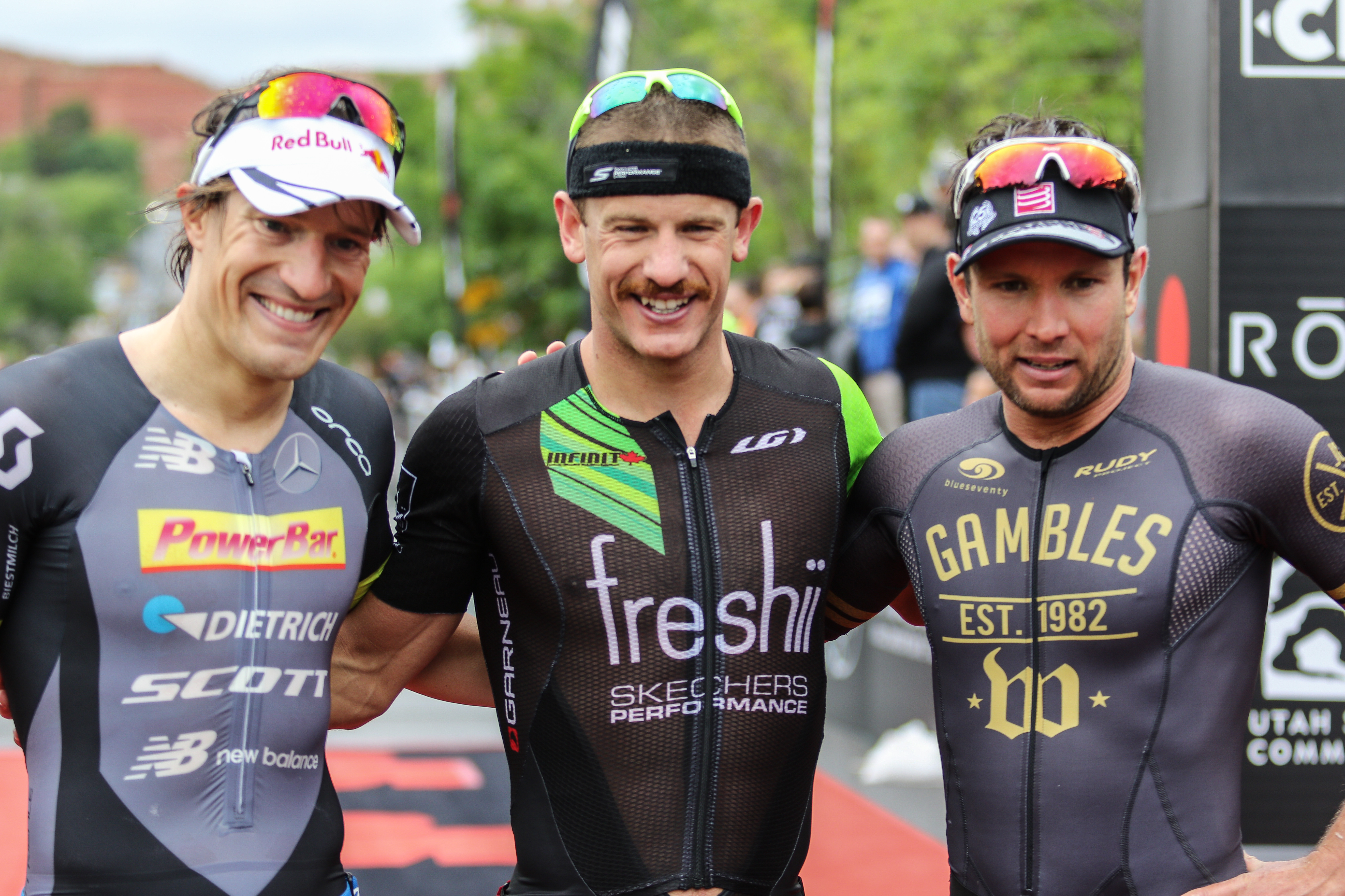 Sebastian Kienle (left) Lionel Sanders (center) and Joe Gambles, Ironman 70.3, St. George, Utah, May 7, 2016, | Photo by Kevin Luthy, St. George News