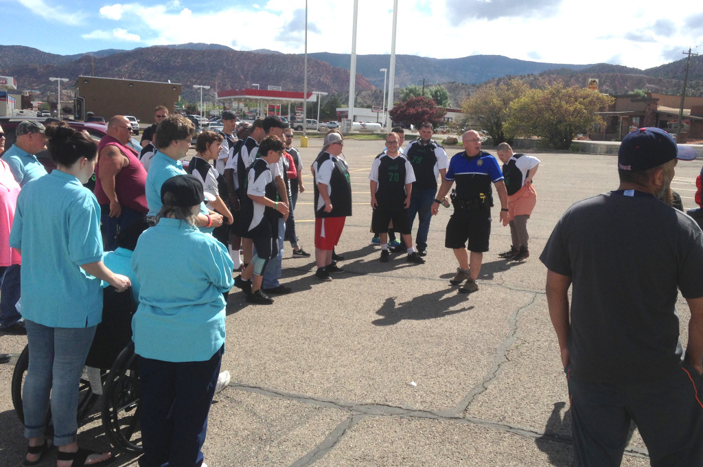 Cedar City Police Sgt. Jerry Womack gives athletes and support staff instructions on how the torch run will proceed, Cedar City, Utah, May 18, 2016 | Photo by Paul Dail, St. George News
