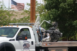 A motorcycle was clipped by minivan at 1250 North Bluff Street, resulting in the motocycle crashing and the rider being sent to the hospital with possible injuriesn, May 5, 2016 | Photo by Mori Kessler, St. George News