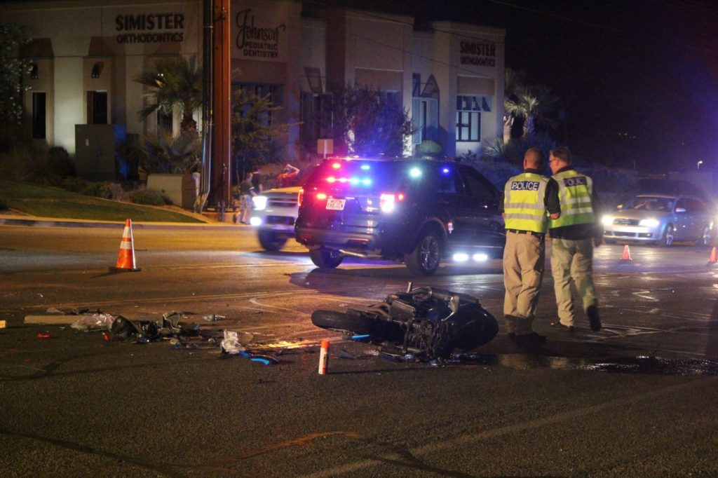 Aftermath of a car-versus-motorcycle crash on River Road near Sunset Boulevard that put the motorcycle rider in the hospital, St. George May 21, 2016   Photo by Mori Kessler, St. George News