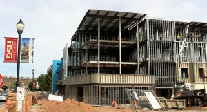 The Campus View Suite under construction on the Dixie State Campus. Once completel, the facility will offer 350 beds for DSU students, St. George, Utah, April 5, 2016 | Photo by Mori Kessler, St. George News