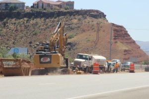 Work on expanding I-15 between Exits 8 and 10 in conjunction with the creation of a highway underpass connecting Red Cliffs Parkway and Red Hills Drive begins, St. George, Utah, May 31, 2016 | Photo by Mori Kessler, St. George News