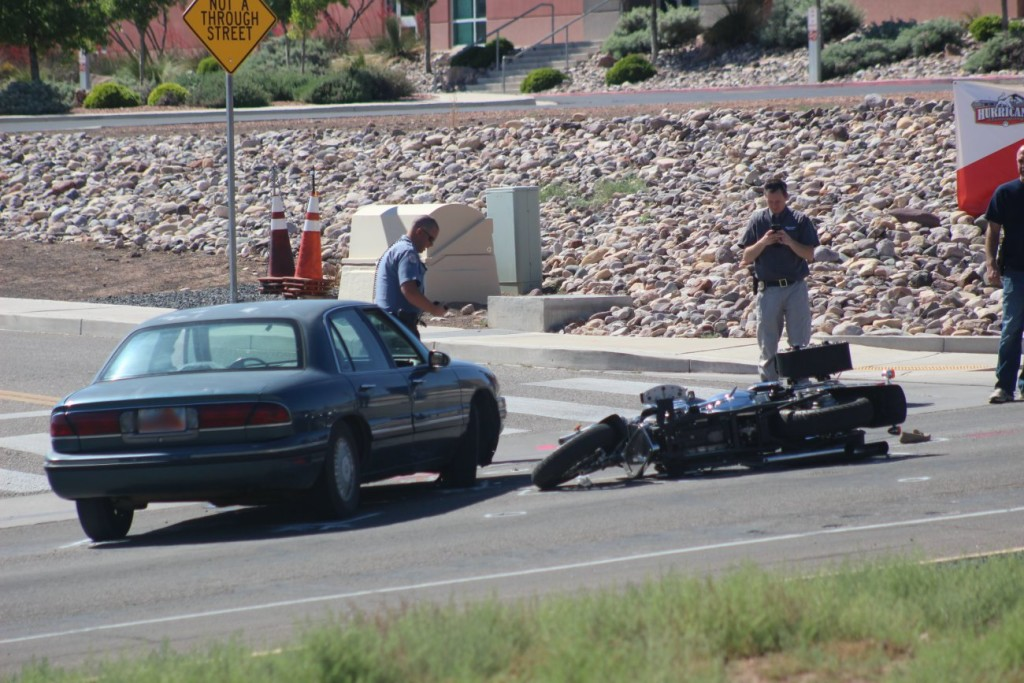 A man was killed in a car-motorcycle collision in Hurricane Friday. The driver of the car was later arrested on charges that included him allegedly driving under the influence and causing a fatal crash. Hurricane, Utah, May 13, 2016 | Photo by Mori Kessler, St. George News