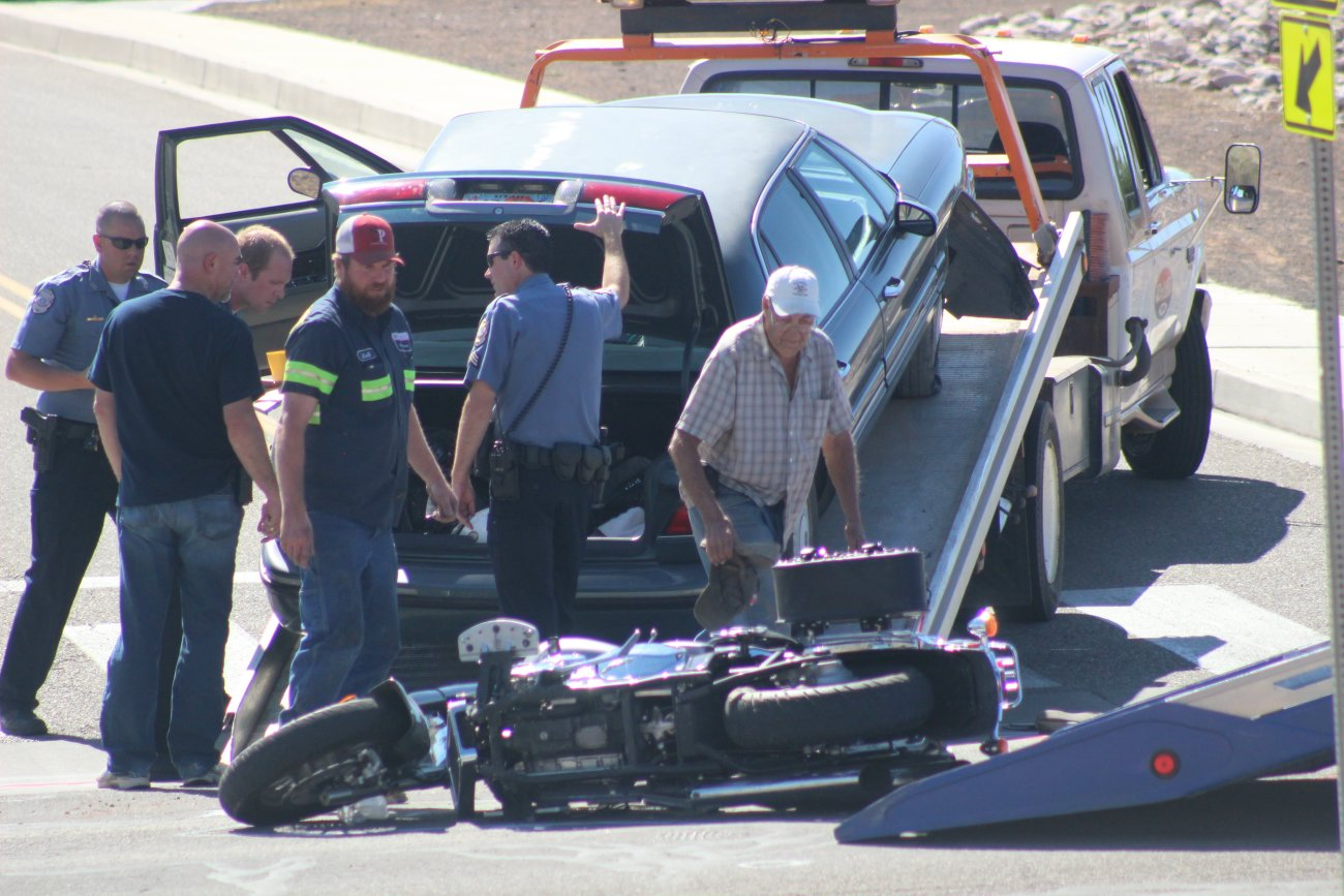 A man was killed in a car-motorcycle collision in Hurricane Friday. The driver of the car was later arrested on charges that included him allegedly driving under the influence and causing a fatal crash. Hurricane, Utah, May 13, 2016   Photo by Mori Kessler, St. George News