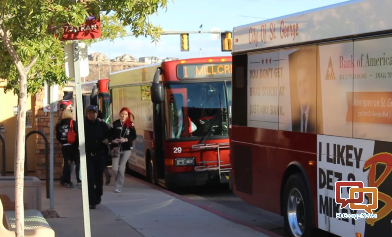 Riders disembark SunTrans buses at the stop near the corner of 100 South and 1000 East, St. George, Utah, Nov. 24, 2015 | Photo by Mori Kessler, St. George News
