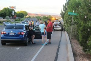 An accident on Red Hills Parkway Monday evening damaged three cars, two severely. St. George, Utah, May 30, 2016 | Photo by Ric Wayman, St. George News