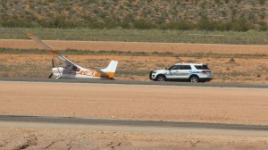 A Cessna 180 from Canada skidded off the runway Sunday afternoon at St. George Regional Airport, St. George, Utah, May 15, 2016 | Photo by Ric Wayman, St. George News