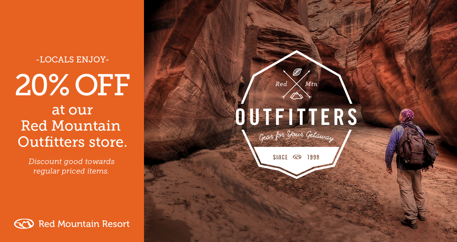 Red Mountain Outfitters 20% off coupon | Graphic provided by Red Mountain Resort, St. George News