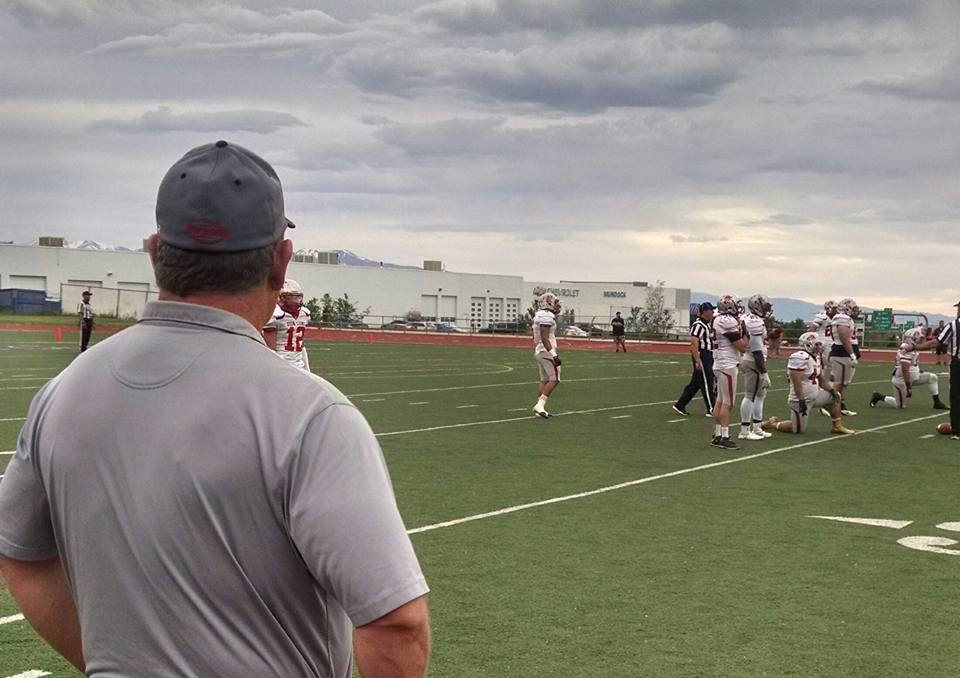 Coach Dale Stott looks on during the Lions loss to Wasatch, Zion Lions at Wasatch Revolution, Woods Cross, Utah, May 14, 2016 | Photo by A.J. Martinez