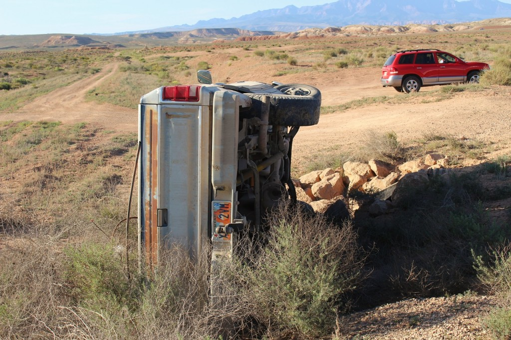 Dodge truck after rolling its side, Mt. Trumbull Loop, Littlefield, Ariz. May 12, 2016| Photo by Cody Blowers, St. George News