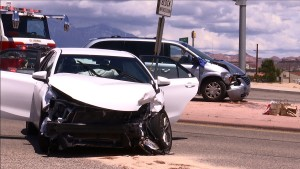 An accident on the Bluff Street overpass of I-15 severely damaged two cars, but no injuries resulted. St. George, Utah, May 2, 2016 | Photo by Sheldon Demke, St. George News