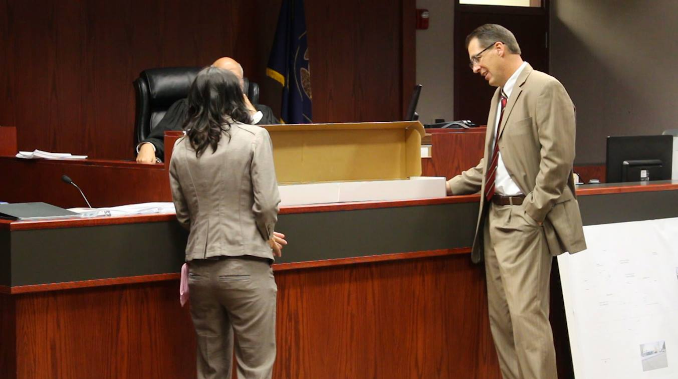Forensic expert Mickelle Croft explains during trial the 40-caliber assault rifle Grant Louis Biedermann used when he fired on two deputies in 2013.  Cedar City, Utah, June 14, 2016   Photo taken by Mike Cole   St. George/Cedar City News