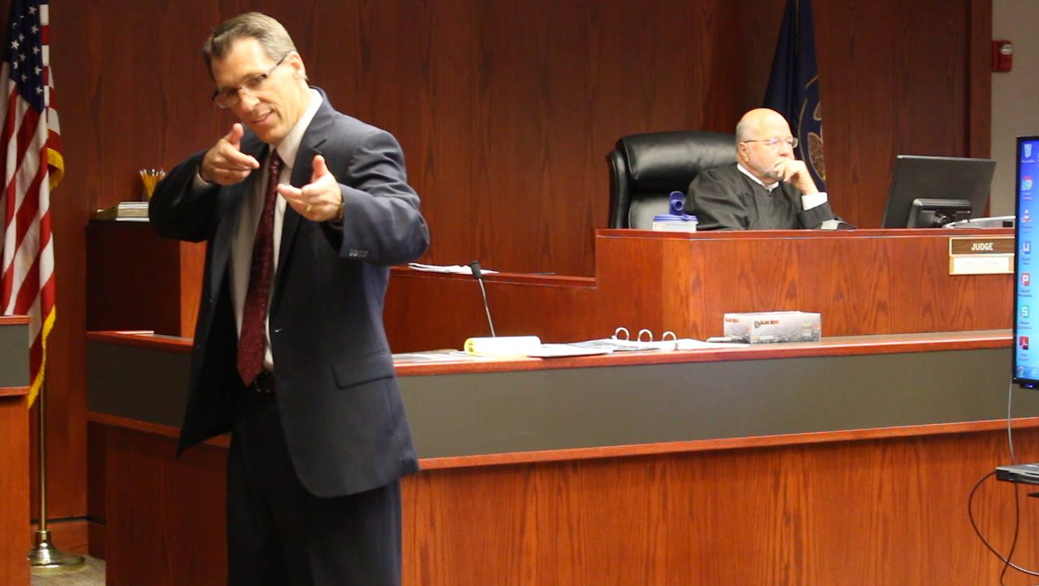 Iron County Attorney Scott Garrett describes for the jury how Grant Louis Biedermann aimed the gun at two deputies during his closing argument Wednesday in Cedar City, Utah, June 15, 2016 | Photo by Mike Cole | St. George/Cedar City News