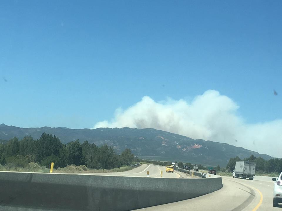 Smoke seen from approximately mile marker 38 on Interstate 15 | Photo courtesy of Hollie Reina, St. George News