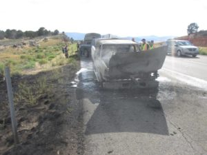 Emergency crews responded to a pickup truck on fire on Interstate 15 Monday three miles south of Cedar City, Utah June 27, 2016 | Photo courtesy of Utah Highway Patrol, St. George/Cedar City News