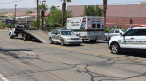 A Toyota Avalon sits disabled after a crash on Dixie Drive Monday, St. George, Utah, June 27, 2016   Photo by Ric Wayman, St. George News
