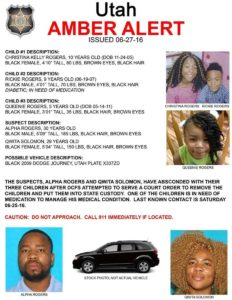 Amber Alert issued by the Kaysville Police Department, Kaysville, Utah, June 27, 2016   Photo courtesy of the Kaysville Police Department, St. George News