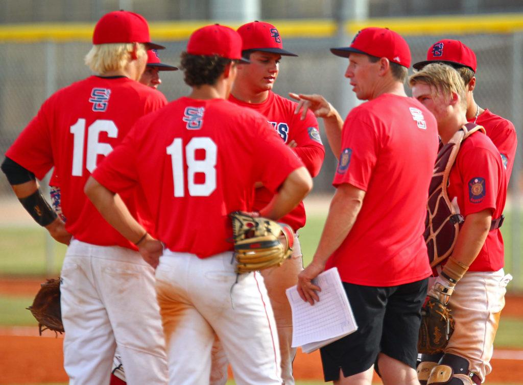 Coach Shane Johanson talks with his team, Sentinels vs. Salt Lake Gulls, American Legion Baseball, June 10, 2016,   Photo by Robert Hoppie, ASPpix.com, St. George News