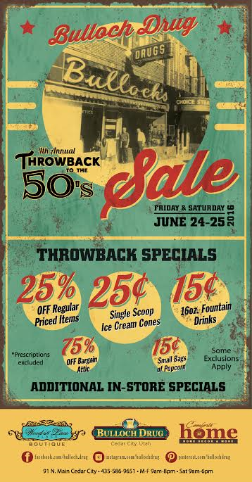 "Flyer for Bulloch Drug's ""Throwback to the '50s"" event and sale, Cedar City, Utah, date not specified 
