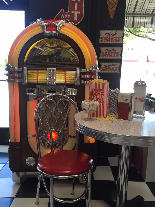 An old-fashioned juke box sets the scene at Bulloch Drug's soda fountain, Cedar City, Utah, date not specified | Photo courtesy of Bulloch Drug, Cedar City News