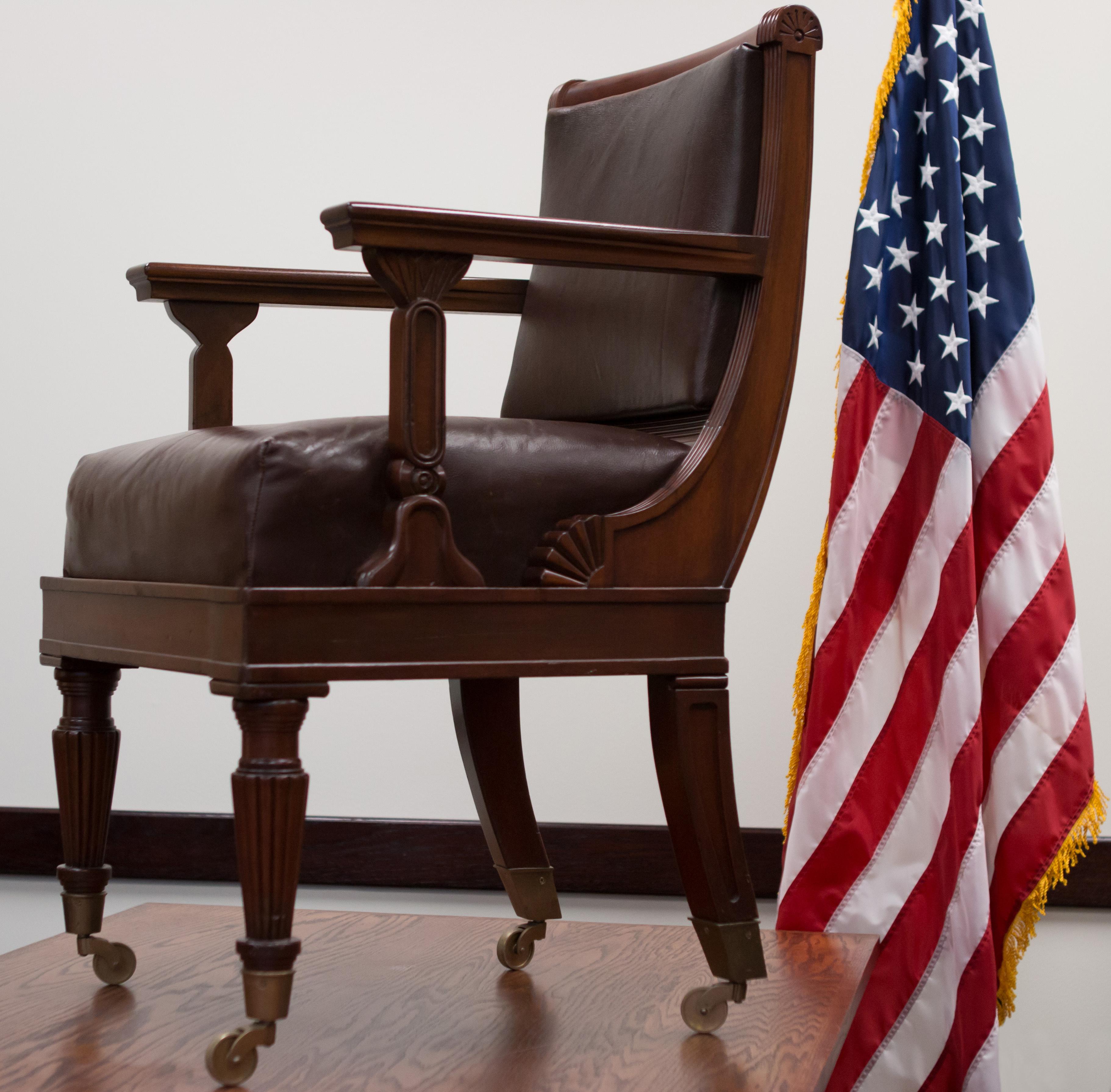 Senator Wallace F. Bennett's chair | Photo courtesy of Southern Utah University, St. George News / Cedar City News