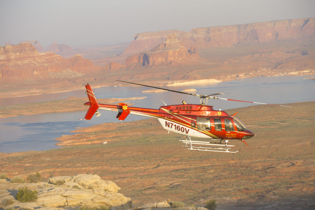 The Classic Air Medical helicopter used to rescue two hikers Monday, photographed at Lake Powell, date unspecified | Photo courtesy of Classic Air Medical, St. George News