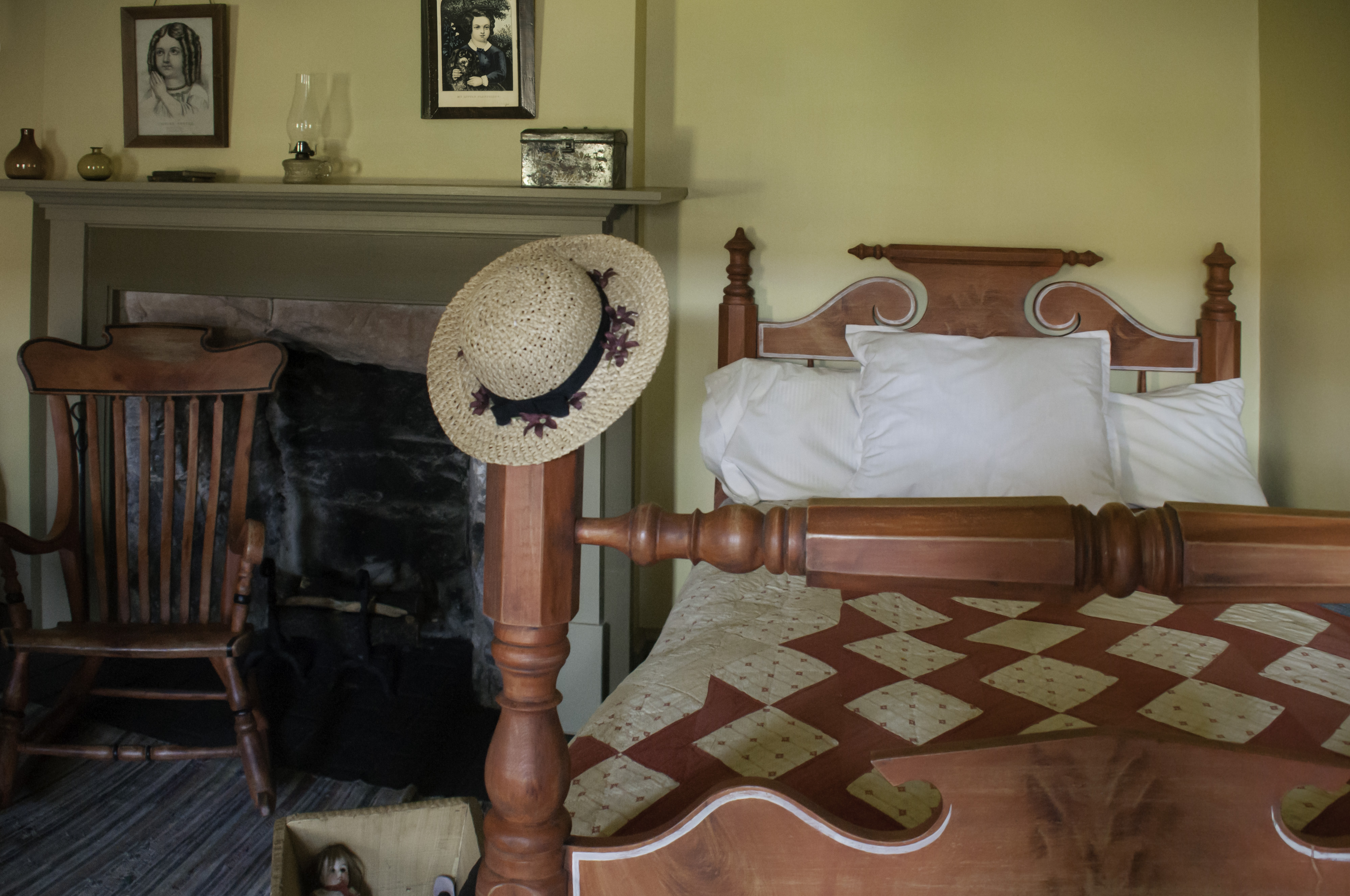Bedroom in Cove Fort Museum shows coverlets either loomed with the date crafted into them or painstakingly quilted. Cove Fort Historical Site, Millard County, Utah, June 25, 2016 | Photo by Kathleen Lillywhite, St. George News