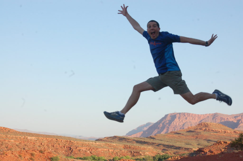 Hurricane resident and distance runner, Cory Reese shows off his jumping skills on the Chuckwalla Trail, St. George, Utah, June 23, 2016 | Photo by Hollie Reina, St. George News