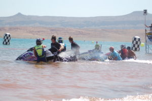 Competitors in the Pro Watercross Tour race across the waters of Sand Hollow Reservoir, Hurricane, Utah, June 25, 2016 | Photo by Hollie Reina, St. George News