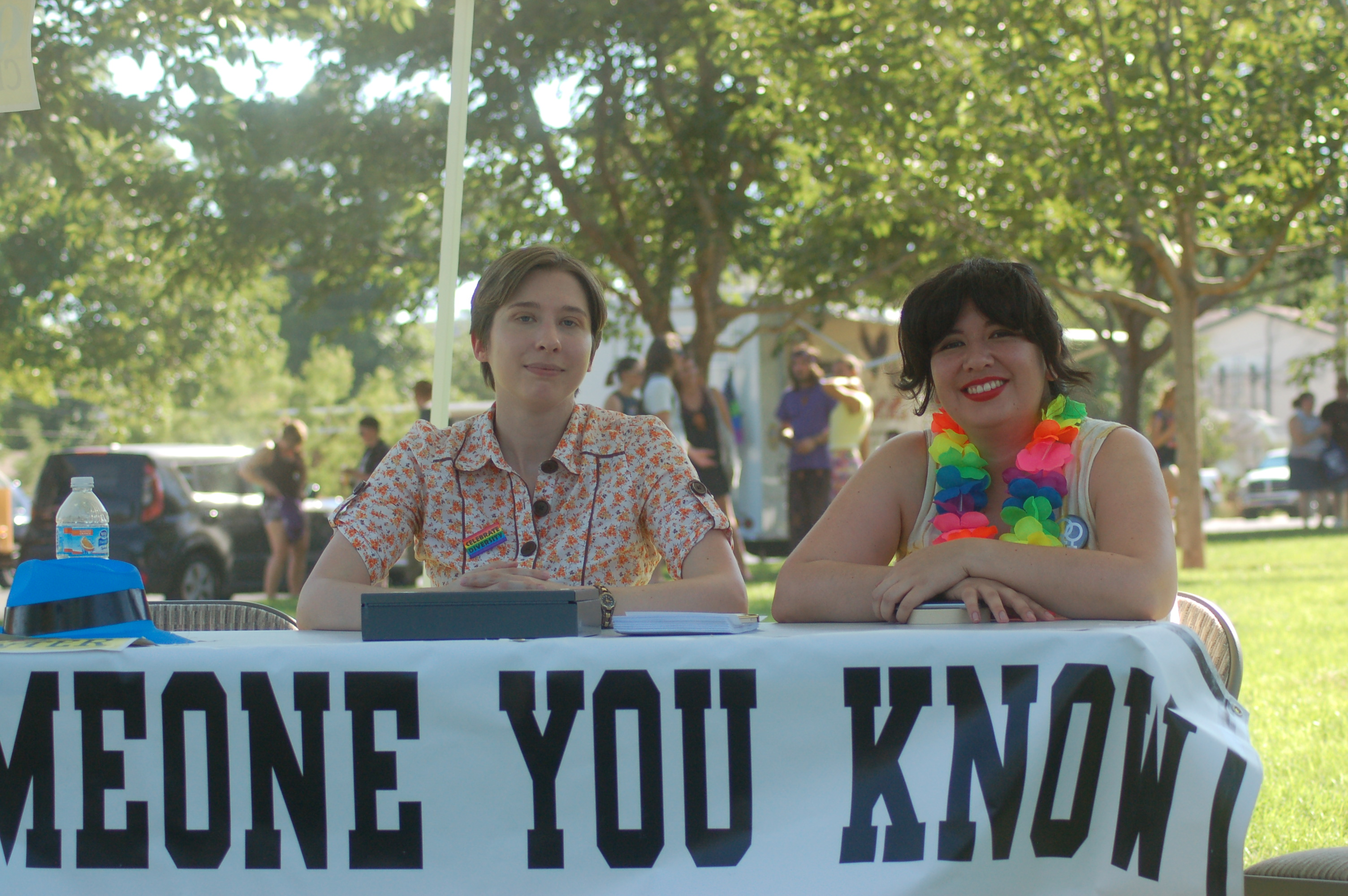 Barrett Beck and her wife Denise Nadal hand out information for the new LGBTQ Inclusion Center during the gay pride celebration held at Vernon Worthen Park, St. George, Utah, June 25, 2016 | Photo by Hollie Reina, St. George News