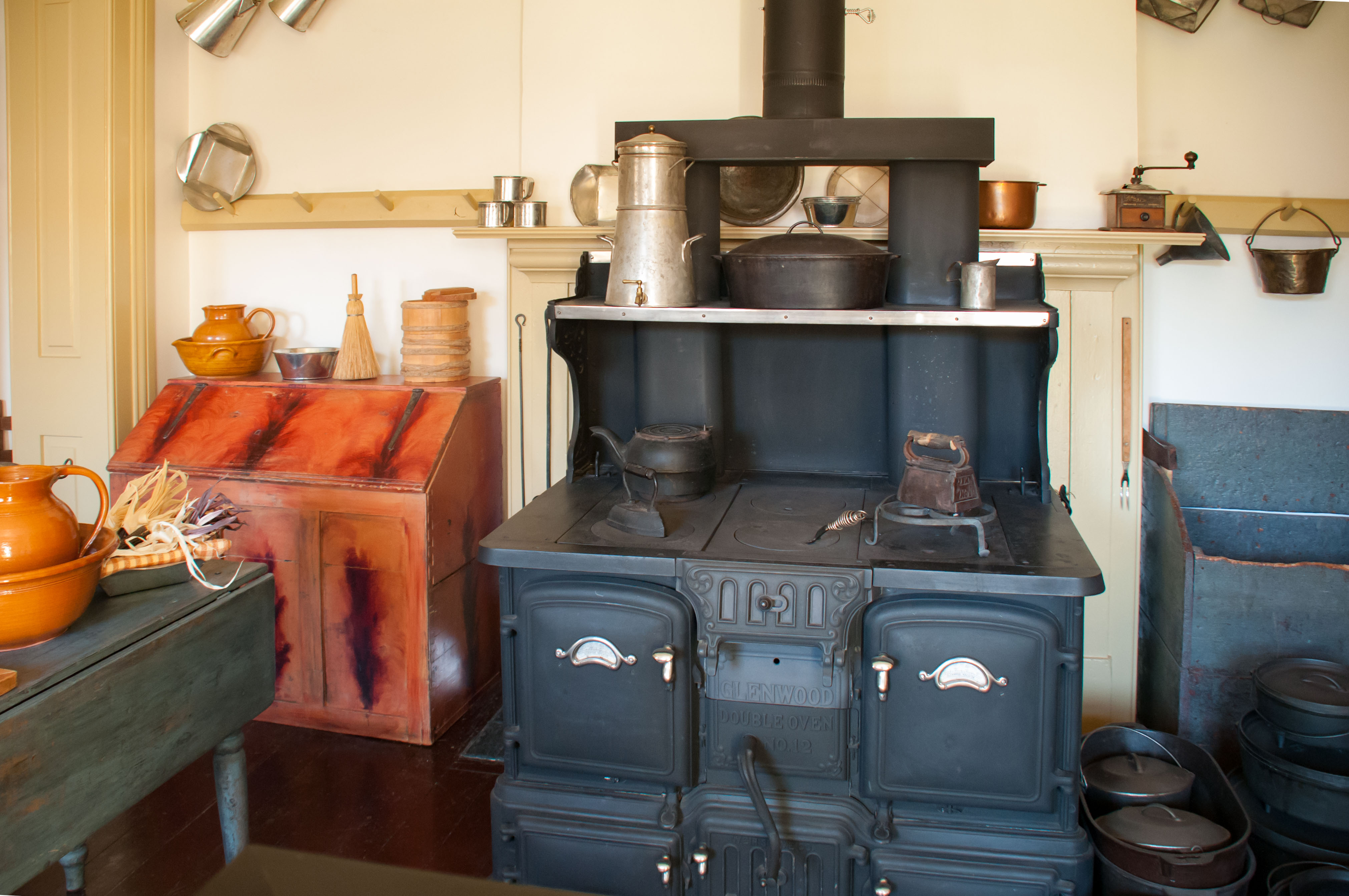 Double cast iron stove included in the kitchen at the Cove Fort Museum matches the one described in a journal by one of Ira Hinckley's wives. Cove Fort Historical Site, Millard County, Utah, June 25, 2016 | Photo by Kathleen Lillywhite, St. George News
