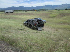 One teen is dead and another teen is in critical condition after a 15-year-old with a Learner Permit crashed an SUV carrying a family of eight on Interstate 15, Millard County, Utah, June 9, 2016   Photo courtesy of Utah Highway Patrol, St. George News