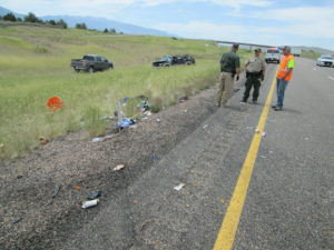 One teen is dead and another teen in critical condition after a 15-year-old with a learner's permit rolled an SUV carrying a family of eight on Interstate 15, Millard County, Utah, June 9, 2016 | Photo courtesy of Utah Highway Patrol, St. George News