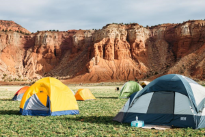 Tents are set up in the future site of the Goosenecks Music Festival on the Red River Ranch in Torrey, Utah, date not specified | Photo courtesy of Goosenecks Music Festival, St. George News