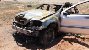 A Mercedes SUV caught on fire after the male driver lost control of the vehicle. Police are characterizing the incident as a possible suicide attempt, St. George, Utah, June 3, 2016 | Photo by Don Gilman, St. George News