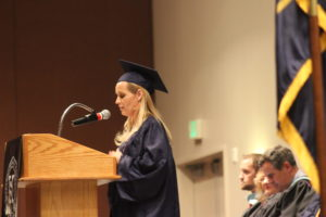 Amberly Larsen Porter addresses the audience during a graduation ceremony. Approximately 50 graduates received their degrees from Stevens-Heneger College Wednesday, St. George, Utah, June 8, 2016 | Photo by Don Gilman, St. George News
