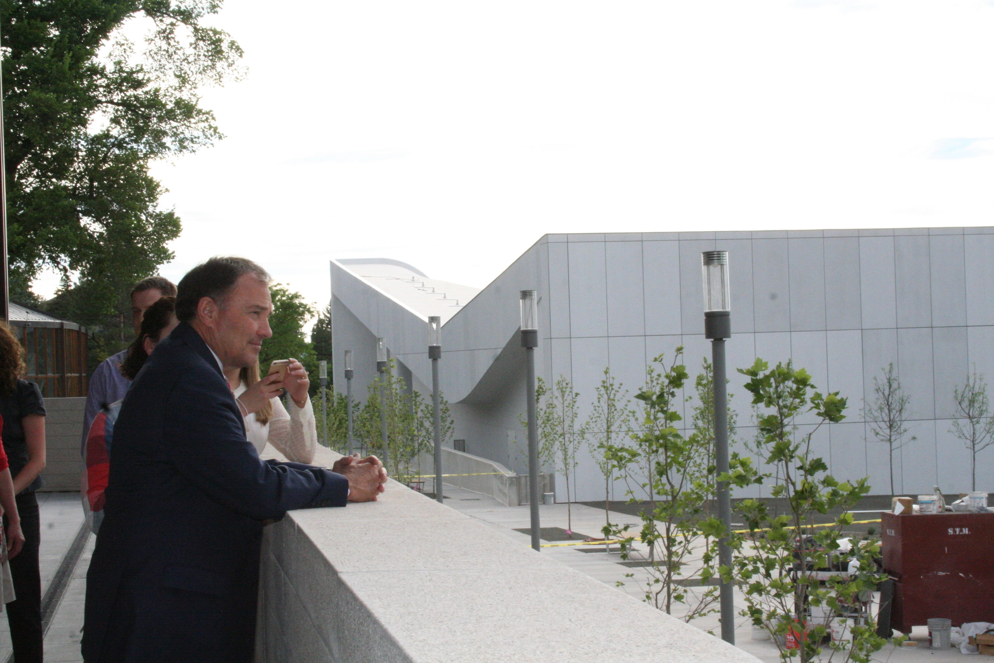 Governor Herbert looks at the new from the balcony of the new Shakespeare Theatre, Cedar City, Utah, June 9, 2016 | Photo by Kaleigh Bronson, St. George News / Cedar City News