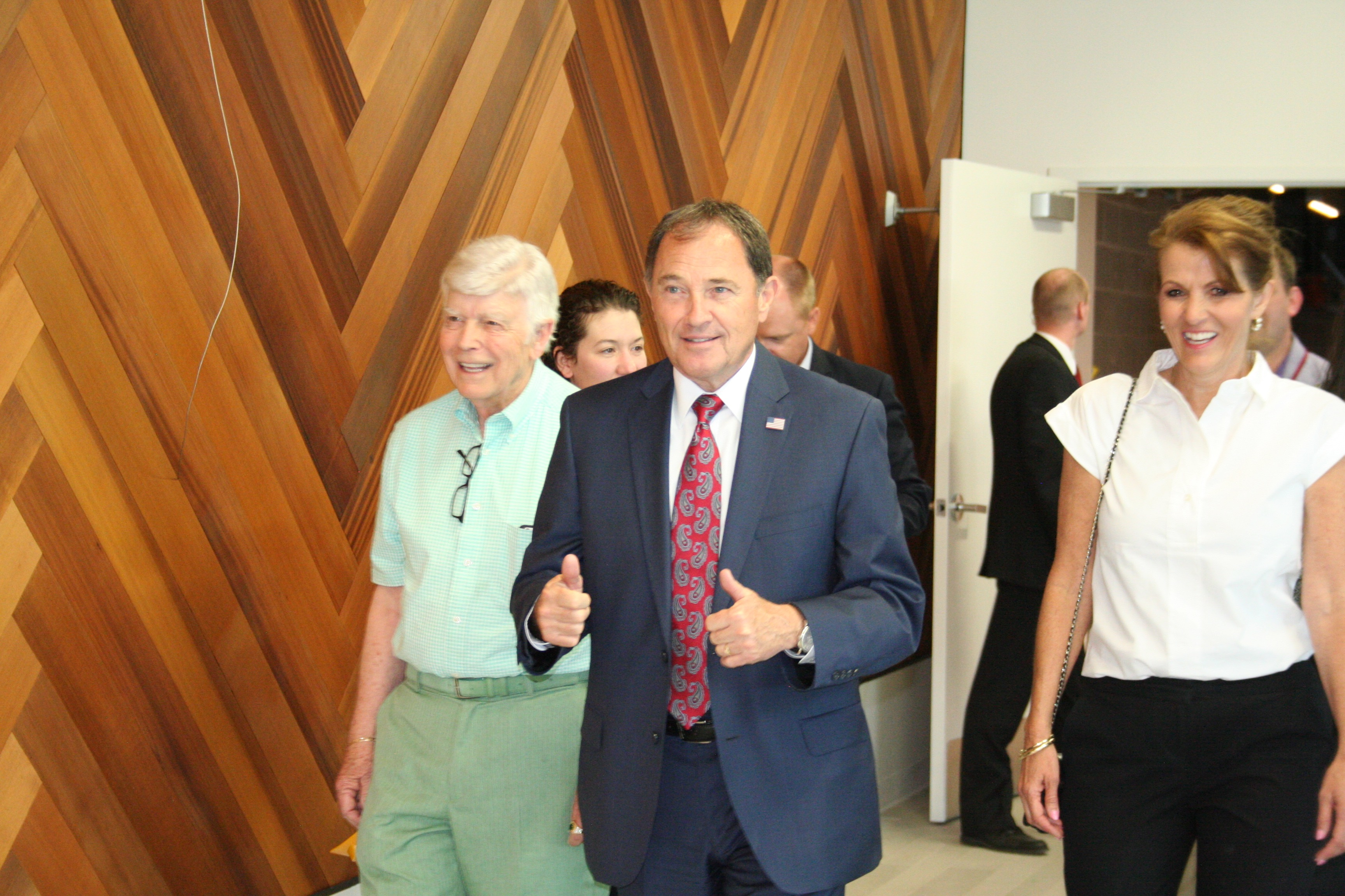 Gov. Herbert (right) with Utah Shakespeare Festival founder Fred Adams (left) touring The Beverley Taylor Sorenson Center for the Arts on the campus of Southern Utah University in anticipation of opening celebration planned for July, Cedar City, Utah, June 9, 2016 | Photo by Kaleigh Bronson, St. George News / Cedar City News