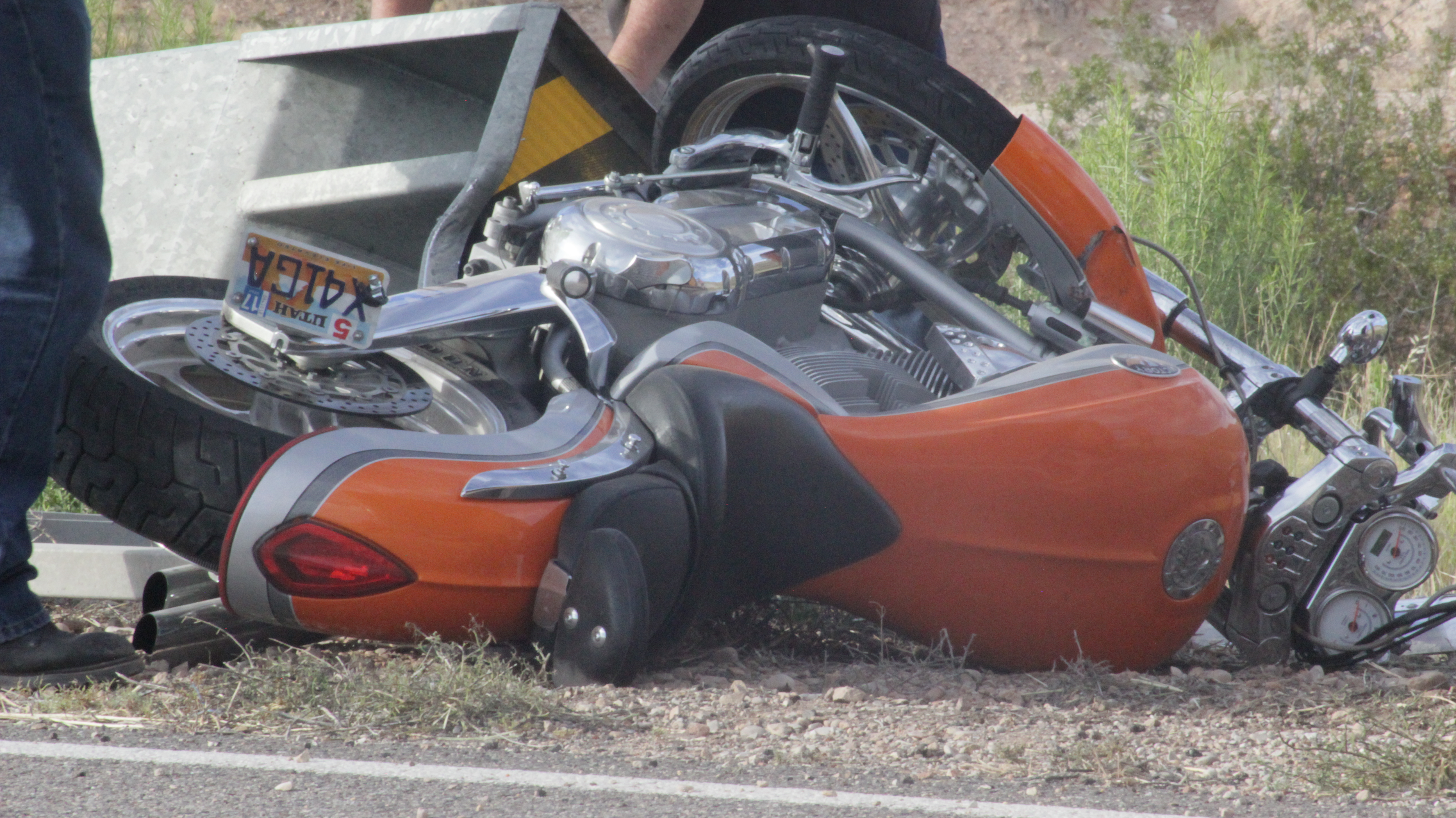 A motorcyclist lost control of her vehicle on state Route 59 and sustained minor injuries after being ejected, Hurricane, Utah, June 18 | Photo by Don Gilman, St. George News