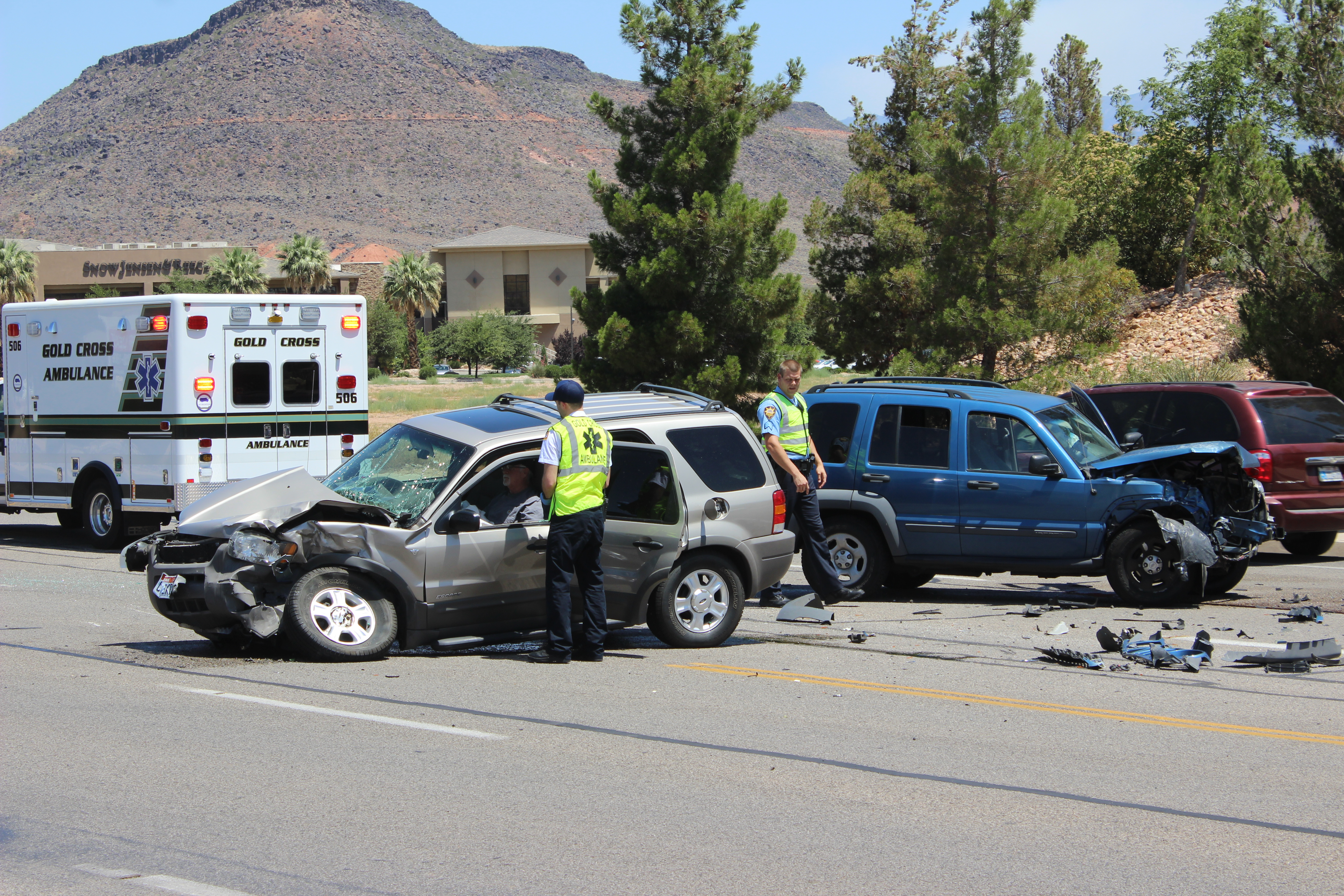 A head on collision on Dixie Drive sent two men to the hospital Friday afternoon, St. George, Utah, June 24, 2016 | Photo by Don Gilman, St. George News