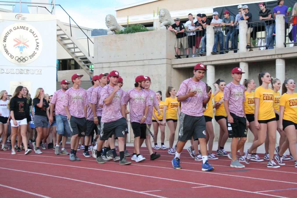 High School athletes from Cedar High School in the Parade of Athletes at the Opening Ceremonies for the Utah Summer Games, Cedar City, Utah, June 9, 2016 | Photo by Kaleigh Bronson, St. George News / Cedar City News